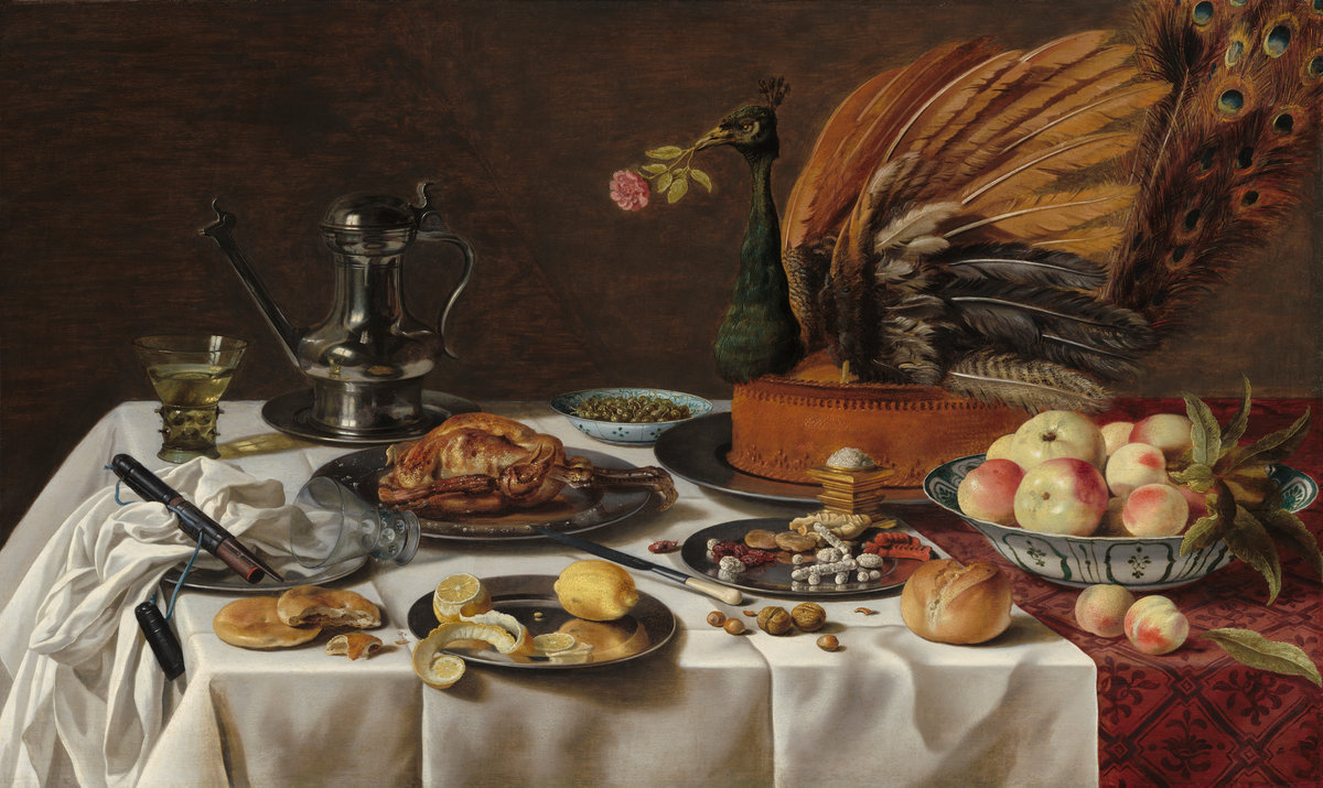Pieter Claesz (Dutch, 1596/1597 - 1660 ), Still Life with Peacock Pie, 1627, oil on panel, The Lee and Juliet Folger Fund